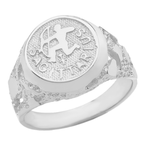 White Gold Sagittarius Zodiac Sign Nugget Ring
