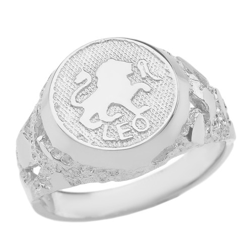 White Gold Leo Zodiac Sign Nugget Ring