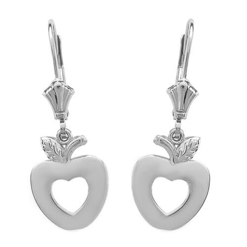 Sterling Silver Apple Heart Earrings
