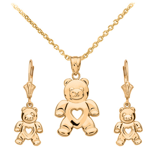 14K Yellow Gold Love Bear Necklace Earring Set