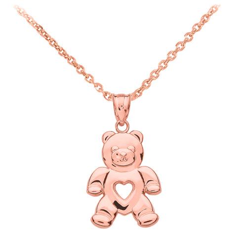 Rose Gold Love Bear Pendant Necklace