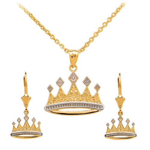 14K Yellow Gold Royal Crown Necklace Earring Set