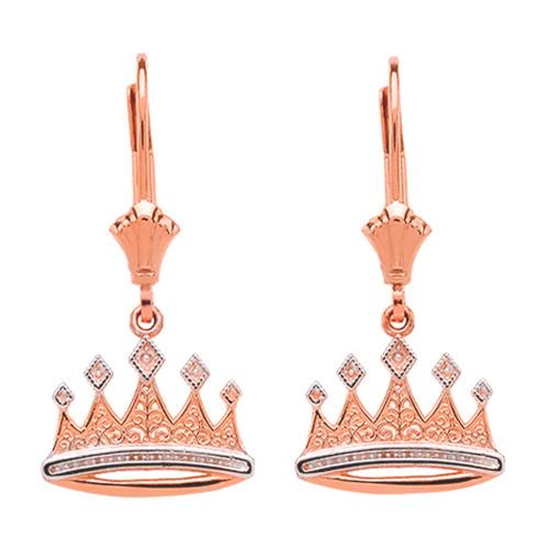 14K Rose Gold  Royal Crown Earrings