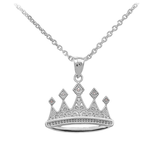 White Gold Royal Crown Necklace Pendant