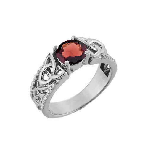 White Gold Celtic Knot Garnet Gemstone Ring