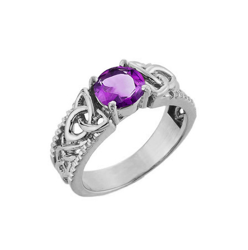 White Gold Celtic Knot Amethyst Gemstone Ring