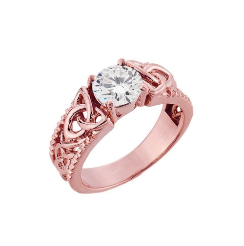 Rose Gold Celtic Knot Cubic Zirconia Ring