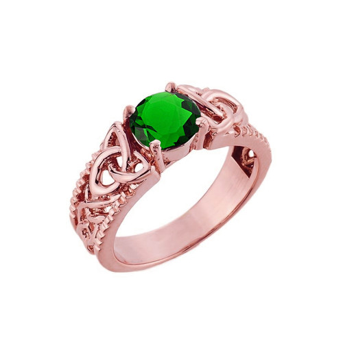 Rose Gold Celtic Knot (LCE) Emerald Gemstone Ring
