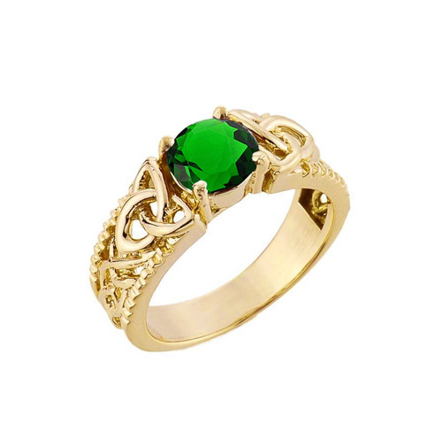 Yellow Gold Celtic Knot (LCE) Emerald Gemstone Ring