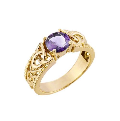 Yellow Gold Celtic Knot (LCA) Alexandrite Gemstone Ring