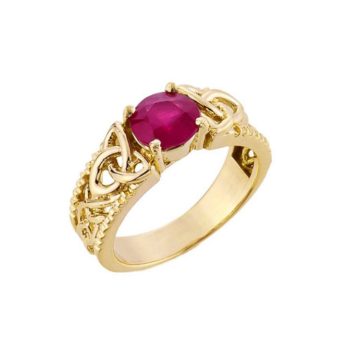 Yellow Gold Celtic Knot (LCR) Ruby Gemstone Ring