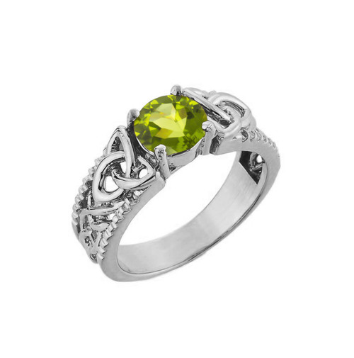 White Gold Celtic Knot Peridot Gemstone Ring