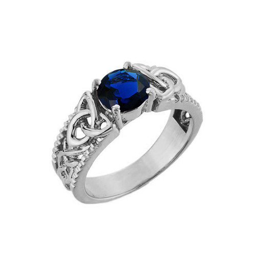 White Gold Celtic Knot (LCS) Sapphire Gemstone Ring