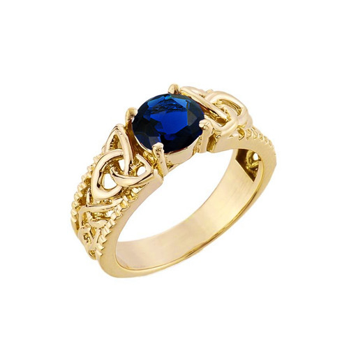 Yellow Gold Celtic Knot (LCS) Sapphire Gemstone Ring