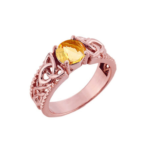 Rose Gold Celtic Knot Citrine Gemstone Ring
