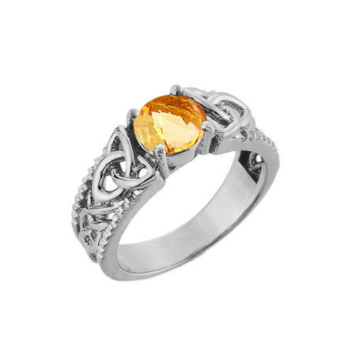 White Gold Celtic Knot Citrine Gemstone Ring
