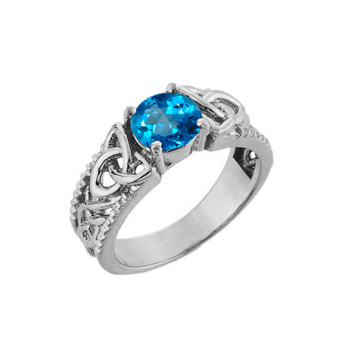 White Gold Celtic Knot Blue Topaz Gemstone Ring