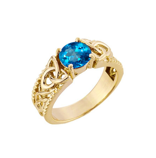 Yellow Gold Celtic Knot Blue Topaz Gemstone Ring