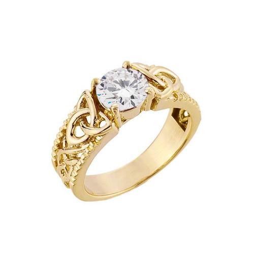 Yellow Gold Celtic Knot White Topaz Gemstone Ring