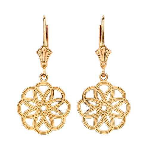 14K Yellow Gold Celtic Knot Round Flower Earrings