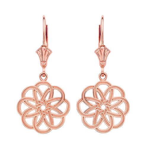 14K Rose Gold Celtic Knot Round Flower Earrings