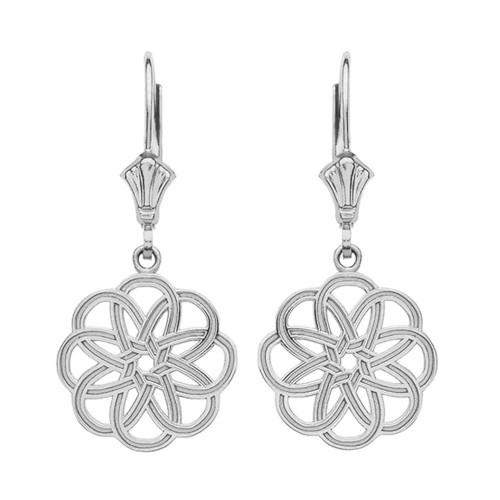 14K White Gold Celtic Knot Round Flower Earrings