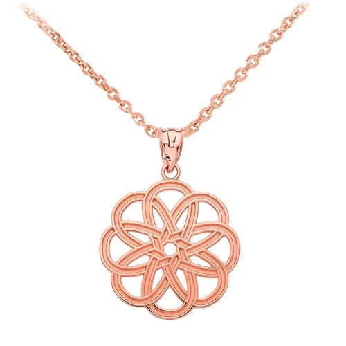Rose Gold Celtic Knot Round Flower Pendant Necklace