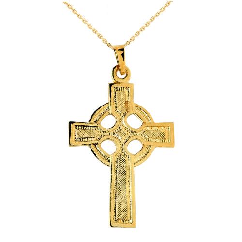 Gold Celtic Cross Pendant Necklace