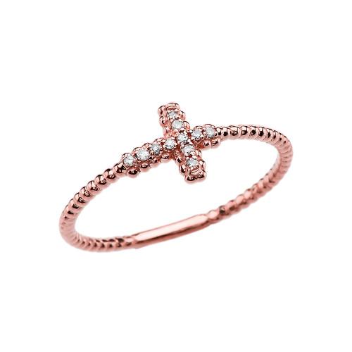 Diamond Sideways Cross Beaded Dainty Rose Gold Ring