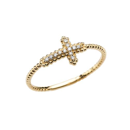 Sideways Cross Diamond Beaded Dainty Yellow Gold Ring