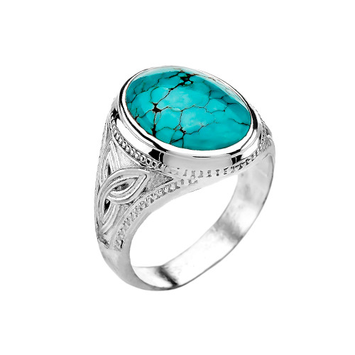 Trinity Knot Turquoise Silver Ring