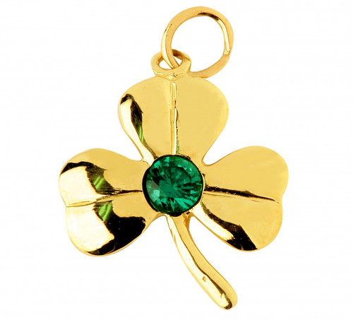 Gold Irish Shamrock Pendant with Emerald CZ