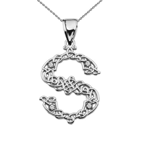"""S"" Initial In Celtic Knot Pattern White Gold Pendant Necklace With Diamond"