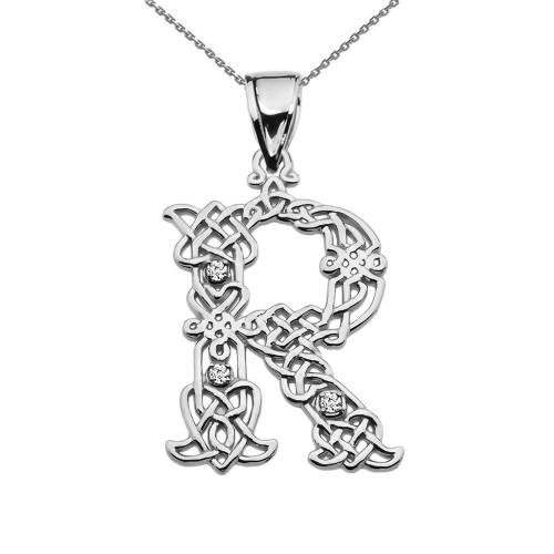 """""""R"""" Initial In Celtic Knot Pattern Sterling Silver Pendant Necklace With Diamond"""
