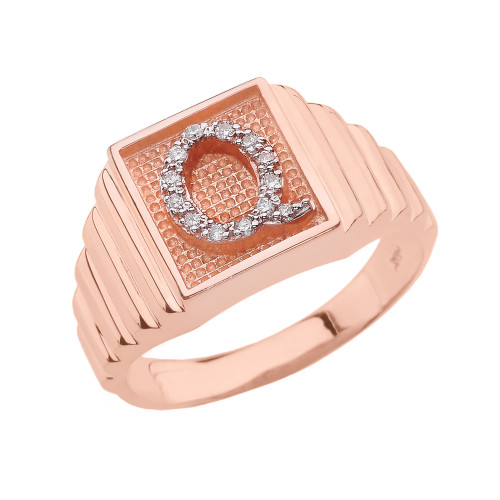 Rose Gold Diamond Initial Q Ring