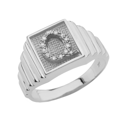 White Gold Diamond Initial Q Ring