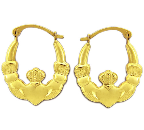 Yellow Gold Claddagh Earring