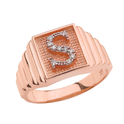 Rose Gold Diamond Initial S Ring