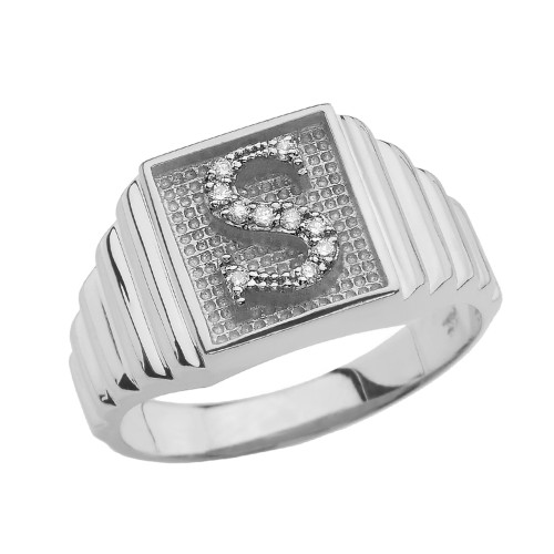 White Gold Diamond Initial S Ring