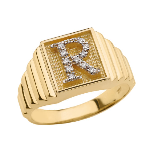 Yellow Gold Diamond Initial R Ring