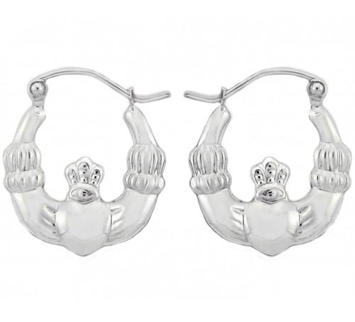 White Gold Claddagh Hoop Earrings