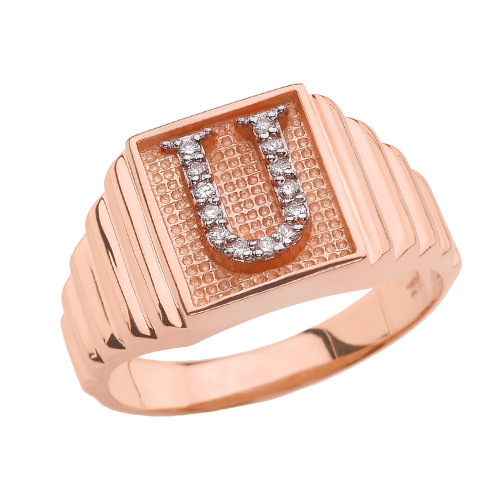 Rose Gold Diamond Initial U Ring