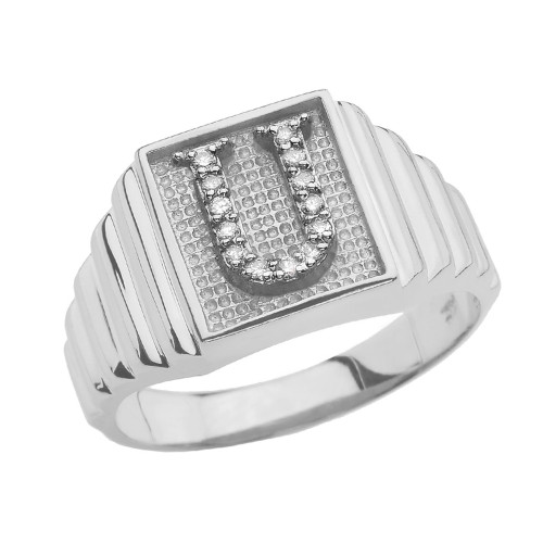 White Gold Diamond Initial U Ring