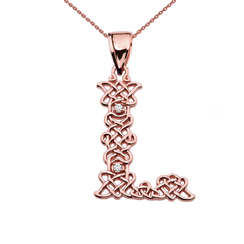 """L"" Initial In Celtic Knot Pattern Rose Gold Pendant Necklace With Diamond"