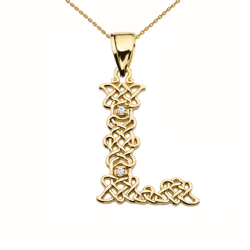 """L"" Initial In Celtic Knot Pattern Yellow Gold Pendant Necklace With Diamond"