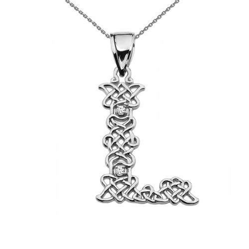 """""""L"""" Initial In Celtic Knot Pattern Sterling Silver Pendant Necklace With Diamond"""