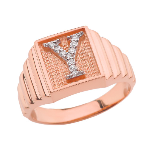 Rose Gold Diamond Initial Y Ring