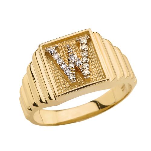 Yellow Gold Diamond Initial W Ring
