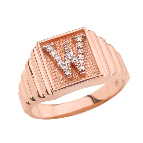 Rose Gold Diamond Initial W Ring