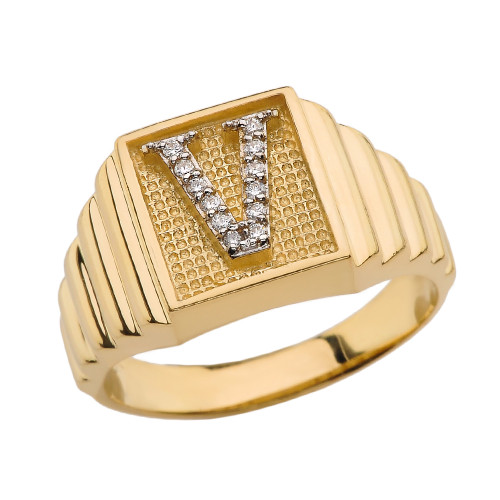 Yellow Gold Diamond Initial V Ring